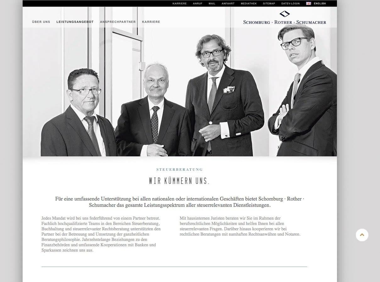 SCHOMBURG ROTHER SCHUMACHER   Business Portrait & Image Foto auf Webseite in Anwendung